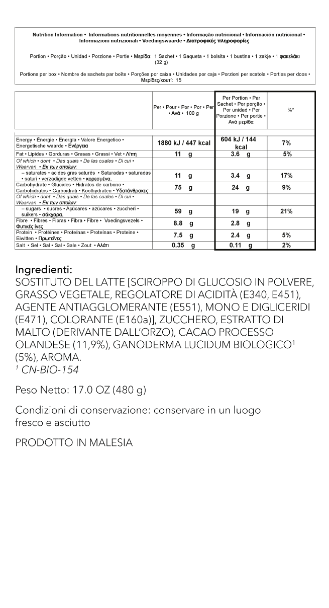 Cioccolata Calda Ingredients